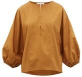 Apiece Apart Bequia Balloon-sleeve Cotton-poplin Top - Womens - Camel