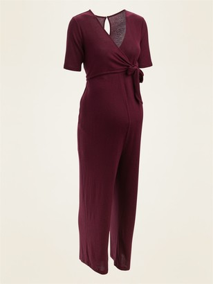 Old Navy Maternity Plush-Knit Cross-Front Side-Tie Jumpsuit