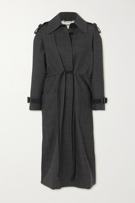 Fendi Belted Suede-trimmed Checked Wool Coat - Gray
