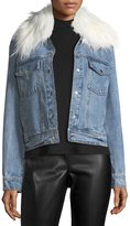 Bagatelle Removable Faux-Fur-Collar Denim Trucker Jacket