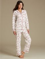 Marks and Spencer Cotton Rich Star Print Long Sleeve Pyjamas