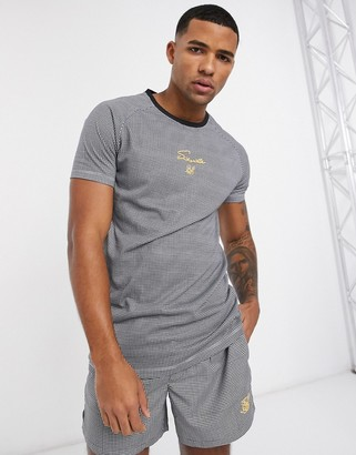 SikSilk raglan tech t-shirt in black houndstooth