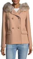 Kate Spade Women's Faux Fur-Trimmed Double-Breasted Coat