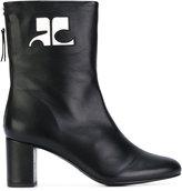 Courreges logo patch ankle boots