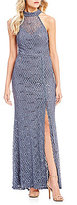 B. Darlin Mock Neck Sequin Lace Long Dress