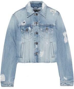 1797884abe45 Veronica Beard Cara Cropped Distressed Denim Jacket