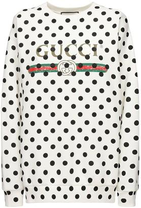 Gucci Dot Logo Printed Jersey Sweatshirt