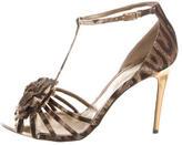 Lanvin Cheetah Print T-Strap Sandals