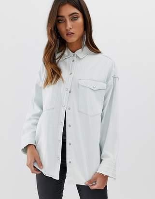 AllSaints Harper oversized denim shirt-Blue