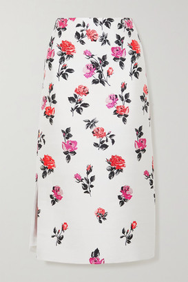 Valentino Metallic Silk-blend Brocade Midi Skirt - White