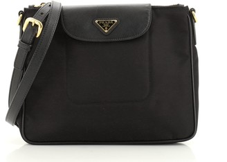 Prada Flap Zip Messenger Tessuto with Saffiano Leather Small