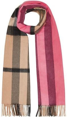 Burberry Colour Block Check Cashmere Scarf