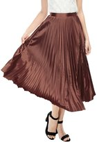 Allegra K Women High Waist Accordion Pleats Metallic Midi Skirt XL