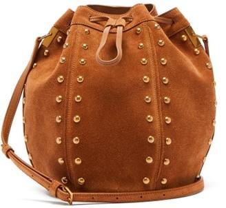 Saint Laurent Talitha Studded Suede Bucket Bag - Tan