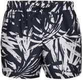 Topman Navy Leaf Print Swim Shorts