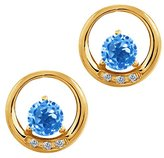 Gem Stone King 1.24 Ct Round Swiss Blue Topaz and White Diamond 14k Yellow Gold Earrings