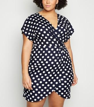New Look Mela Curves Polka Dot Mini Wrap Dress