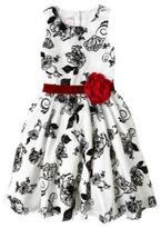Nannette Girls' Flocked Taffeta And Mesh Dress