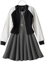 Knitworks Girls 7-16 Textured Jacket & Polka-Dot Princess Seam Dress with Necklace