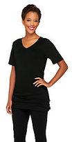 Denim & Co. V-neck Short Sleeve Knit Top with Side Shirring