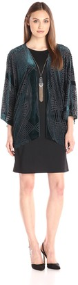 Amy Byer Women's Sheath with Soft Kimono Jacket and Accessory