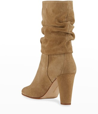 Manolo Blahnik Shushan 90mm Suede Slouchy Boots