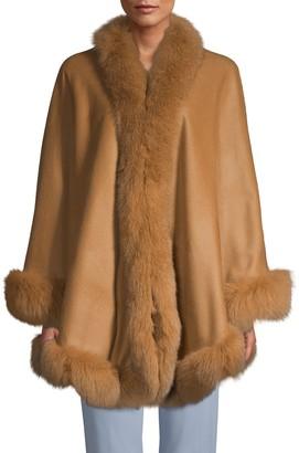 Belle Fare Fox Fur-Trim Cashmere Cape