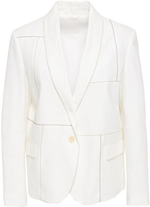 Brunello Cucinelli Bead-embellished Linen And Cotton-blend Blazer
