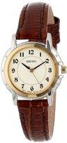 Seiko Women's SXGA02 Two-Tone Watch with Brown Leather Band