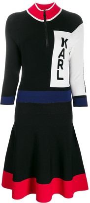 Karl Lagerfeld Paris Colour-Block Logo Dress