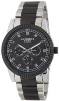 Akribos XXIV Men's Quartz Multi-Functional Diamond Bracelet Watch - 0.06 ctw