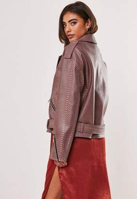 Missguided Chocolate Faux Leather Snake Print Boyfriend Biker Jacket