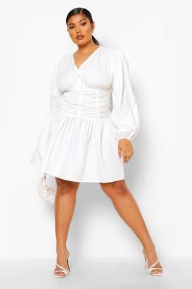 boohoo Plus Lace Up Detail Plunge Skater Dress