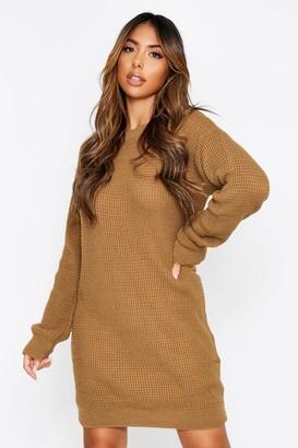 boohoo Basic Waffle Knit Jumper Dress