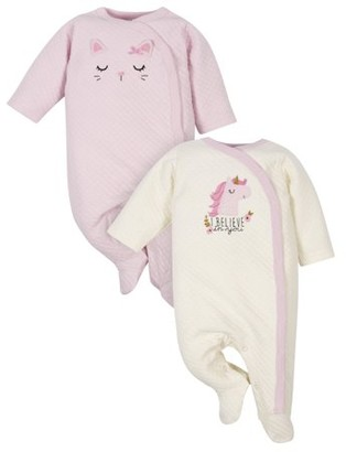 Gerber 2-Pack Baby Girls Cat and Unicorn Quilted Sleep n Plays