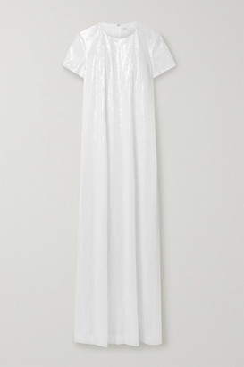 Rosetta Getty Sequined Tulle Maxi Dress - White