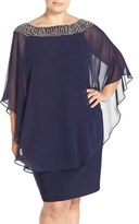 Xscape Evenings Plus Size Women's Embellished Chiffon Overlay Jersey Sheath Dress