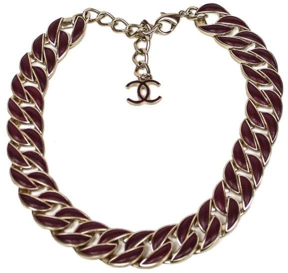 Chanel Gold Tone Hardware Leather Curb Chain Necklace