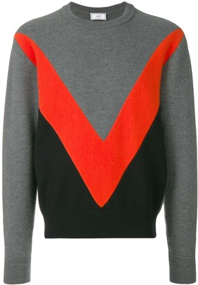 Ami Paris Tricolor Crew Neck Sweater With Contrasted Bands