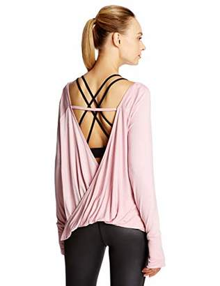 Open Back Workout Tops for Women Long Sleeve Loose Fit Yoga Shirts with Thumbholes