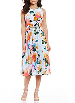 Calvin Klein Belted Floral Midi Dress