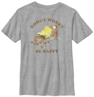 Fifth Sun Curious George Big Boy's Donut Worry Be Happy Bag of Donuts Portrait Short Sleeve T-Shirt