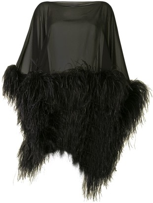 16Arlington Feather Trimmed Silk Poncho