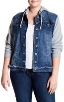 Live A Little Denim Knit Sleeve Hooded Jacket (Plus Size)