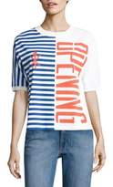 Opening Ceremony Striped Cotton Logo Tee