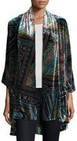 Johnny Was Frame Velvet Geometric-Print Kimono, Multi, Plus Size