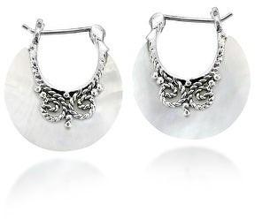 Aeravida Handmade Glowing Shell Crescent Moon Bali Style Hoop Lock Sterling Silver Earrings
