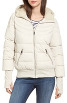 GUESS Women's Oversize Hooded Puffer Jacket With Knit & Faux Shearling Trim