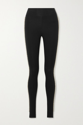 Marc Jacobs Capezio Faux Pearl-embellished Stretch-cotton Jersey Stirrup Leggings - Black