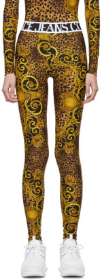 Versace Black and Gold Baroque Leggings